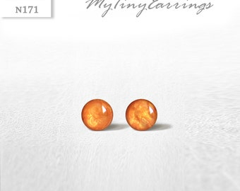 4mm Apricot Stud Earrings Mini Tiny Shimmery 4 mm - Stainless Steel Gold Plated Posts plus High Quality Epoxy Resin - Moon Line N171