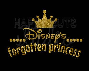 Disney's Forgotten Princess in Gold Glitter with Crown Girly Girl Vinyl Matching Family Girls Mother Daughter Sister Disney Iron on Decal