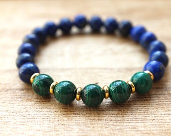 Lapis Lazuli and Malachite Mala Bracelet - Healing Crystals for New Beginnings and Challenges, Creativity and Imagination, Protection