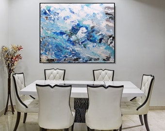 Large Blue Art Print, Extra Large Print Wall Art Abstract Giclee Print, Blue Artwork, Blue Wall Art Canvas Abstract Print, Wall Decor Art