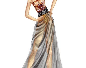 Custom Fashion Illustration, custom fashion drawing, watercolor fashion sketch