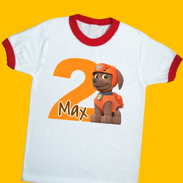 Zuma Paw Patrol Birthday Ringer Tee Personalized Shirt With Name And Age 1st