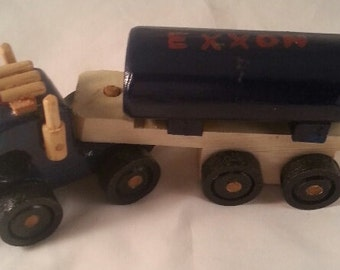 Vintage Handmade Wooden Exxon Tanker Truck/Gas Advertising