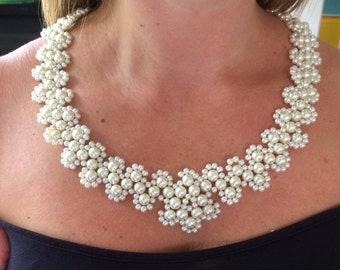 Chunky Bridal Necklace glass pearls in various sizes with SP chain. You choose the length. Lovely, wedding Mother of the Bride necklace