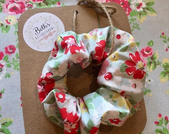 Handmade with Cath Kidston Fabric Electirc Pop Flower Gorgeous White Floral Stunning Hair Scrunchie - Girls Hair Accessory