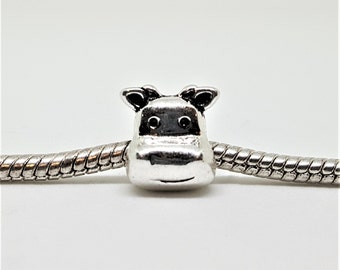 Silver Cow Face Charm for European Bracelets (item 100)