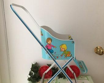 Vintage 1950's Ohio Art Tin Litho Doll Stroller