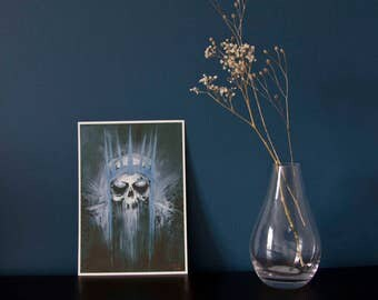 A5 king of the dead giclée art print - skeleton - acrylic painting - macabre - horror - decay - LOTR fanart