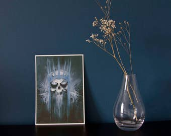 ART PRINT - king of the dead - A5 giclée art print - skeleton - acrylic painting - macabre - horror - decay - LOTR fanart