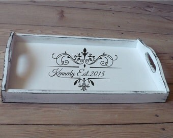 breakfast tray personalized serving trays antique white