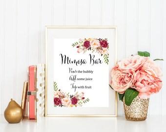 Burgundy Boho Floral Mimosa Bar Sign, Marsala Mimosa Bar Printable Wedding Sign, Floral Mimosa Bar Shower Sign, Peony Instant Download 120-W
