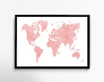Pink map Watercolor art poster World map art print Large printable wall decor