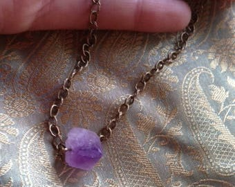 Adjustable necklace * star *, Amethyst, chain, bronze, minimal, boho