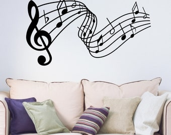 Decorative Music Notes Stave Vinyl Wall Art Sticker Decal Music Room Living Room Bedroom