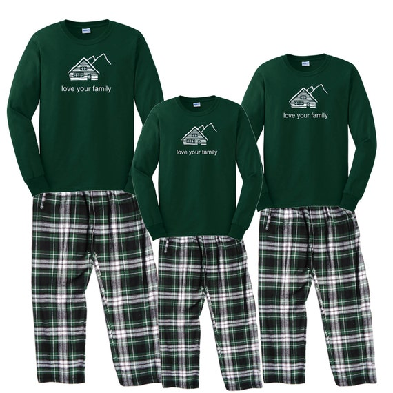 Family Matching Pajamas Cabin Mountain Retreat PJs for the