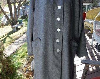 1950 Ladies Gray Wool Swagger Jane Hunter Coat with Braid like Trim