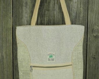 Tall Pure Hemp Tote with front zipper