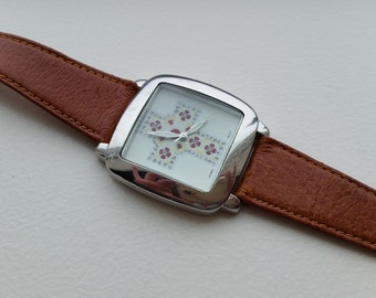 Silver Tone Watch with Leather Band