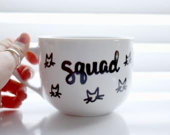 Cat Mug, Squad Mug, Gift for Cat Lover, Gift for Coffee Lover