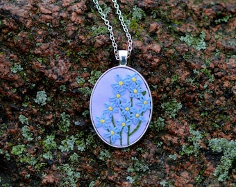 Daughter gift|for|her Wildflowers Forget me not necklace Embroidered pendant Blue necklace Embroidery jewelry gift|for|mom Flower necklace