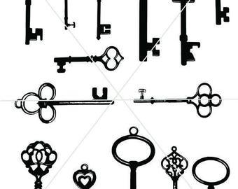 Silhouette Keys, SVG Key Images, Clipart Antique Keys