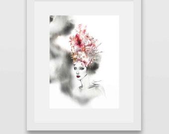 Amphitrite, Print from original watercolor and mixed media fashion illustration by Cara