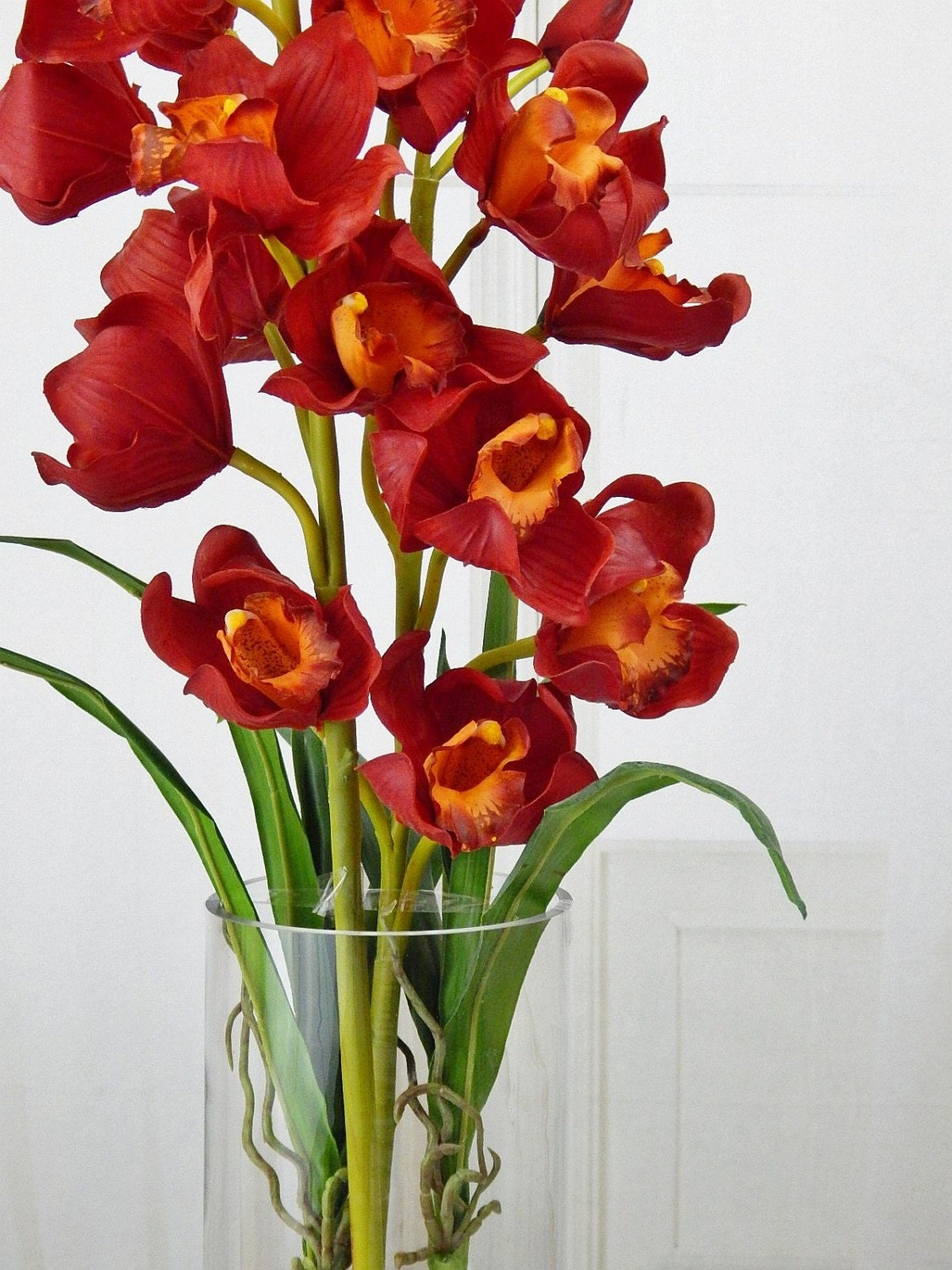 Red cymbidium orchids acrylic water faux silk real touch red cymbidium orchids acrylic water faux silk real touch flowers tall floral arrangement centerpiece wedding glass vase reviewsmspy