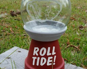 Alabama Decor: candy dish, gift, Crimson Tide faux gumball machine, terra cotta pot candy dish, Bama pet treat dish, Rammer Jammer treat jar