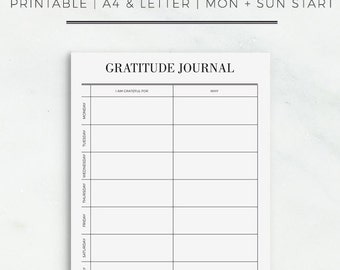 Gratitude Journal Printable | Weekly Planner Page | Life Planner Inserts | Gratitude Printable Planner Inserts | Instant Download