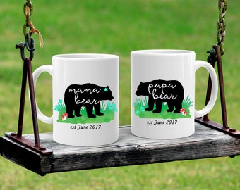 Mama Bear and Papa Bear, Bear Mugs, Mug Set, Baby Shower Gift, Mom and Dad Gift, Parents Gift, Gift from Kids, Fathers Day, Mothers Day