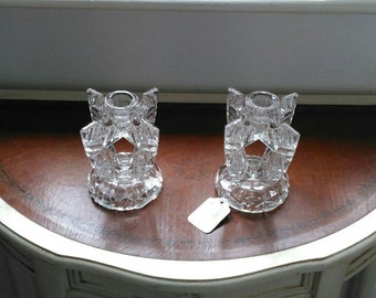 Art Deco glass candlesticks pair classic iconic shape and design