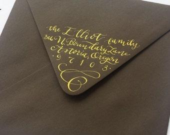 Hand lettered return address