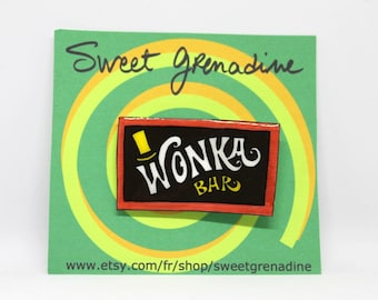 """Charlie and the Chocolate Factory """"WONKA BAR"""" Shrink Plastic Brooch"""
