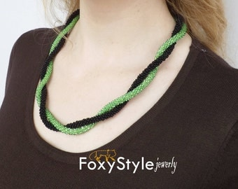 everyday necklace handmade gift wife gift christmas gift beadwork necklace green necklace black necklace birthday gift sister gift for women