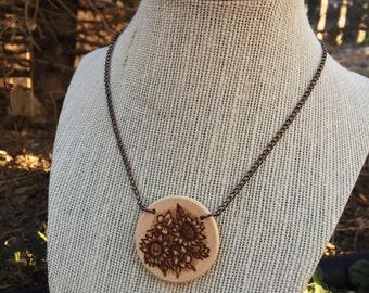 Woodburned Sunflower Pendant Necklace