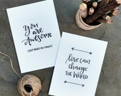 Unconventional Encouragement Handlettered Postcards | Black & White | 5x7 Set of 5