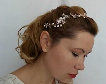 Rose Gold Hair Vine, Rose Gold Headband, Crystal Hair Vine, Rose Gold Halo, Rose Gold Tiara, Rose Gold Hair Chain, Rose Gold Accessory