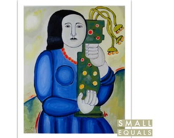 Giclee print, liza leger, woman holding vase, wall art, home decor, fine art print,