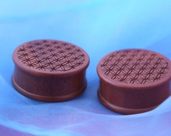 24mm Seed of Life Ribbed Wood Plugs - One Pair