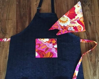 Girls apron, kids apron, child apron with hair scarf, little chef apron, kitchen apron in navy stretch denim with pink polka dots