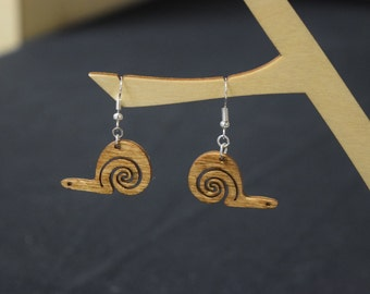 Snail - Laser Cut Wood Earrings