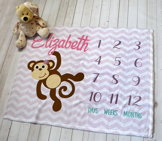 Customized Baby Milestone Month and Weekly Blanket