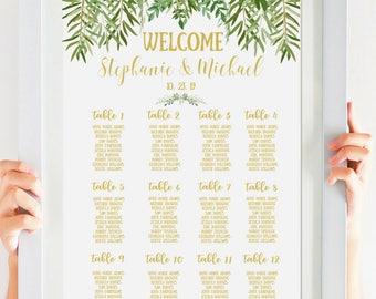 Greenery Wedding Seating Chart, Boho Wedding, Printable Wedding Sign, Personalized, Green Wedding, Gold Wedding Calligraphy SKU# IDWS604_40C