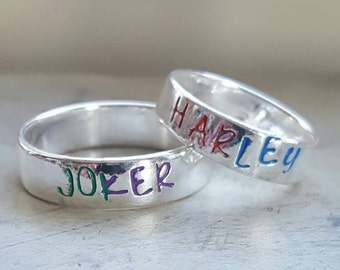Joker/Harley Quinn [Batman]stackable pewter rings 6 mm. Lover's rings. Anniversary present. Valentine's Day. Couple's Gift.