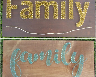 Family String Art w/Clothesline *Made-to-Order*