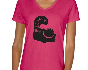 Chesire Cat  Vneck Tshirt