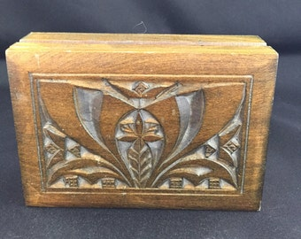 Vintage Handmade Wooden Trinket Box From Poland