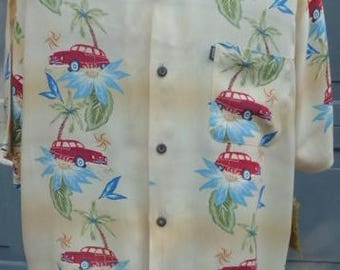 Large Rayon Tropical Shirt with 50s car motif