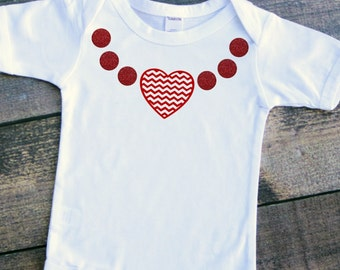 Baby girl Valentine's Day heart chevron necklace bodysuit