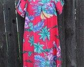 Vintage Hawaiian Print MuuMuu, Flowing Tunic, Tropical Floral Red Print, Resort Wear, Spring Fashion, Boho Style, Festival Dress, Size Large